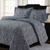 Tribeca Living Lyon Paisley King Quilt Set in Grey