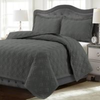 Tribeca Living Lyon Solid King Quilt Set in Steel Grey