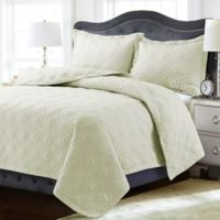 Tribeca Living Lyon Solid Twin Quilt Set in Ivory