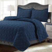 Tribeca Living Lyon Solid King Quilt Set in Estate Blue