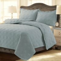 Tribeca Living Lyon Solid Twin Quilt Set in Sky Blue
