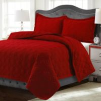 Tribeca Living Lyon Solid Twin Quilt Set in Chili Pepper