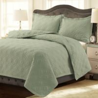 Tribeca Living Lyon Solid Twin Quilt Set in Sage Green
