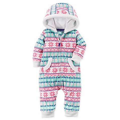 carter's® Fair Isle Fleece Hooded Romper in Pink - buybuy BABY