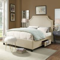 Chic Home Rocky Queen Linen Platform Storage Bed in Cream White