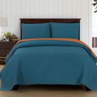 Brielle Casablanca Reversible Full/Queen Quilt Set in Teal/Orange