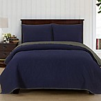 Brielle Casablanca Reversible King Quilt Set in Navy/Dark Grey