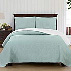 Brielle Casablanca Reversible Full/Queen Quilt Set in White/Seafoam