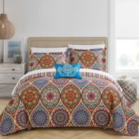 Chic Home Jory 4-Piece Reversible King Quilt Set in Red