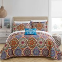 Chic Home Jory 8-Piece Reversible Queen Quilt Set in Red