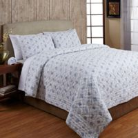 Amity Home Floral Boutique Patchwork Queen Quilt Set in Ivory/Blue