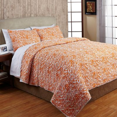 Amity Home Zebra Stripe Queen Quilt Set In White/Orange