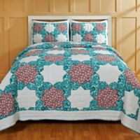 Amity Home Esha Patchwork King Quilt Set in Teal/White