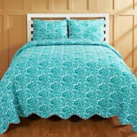 Amity Home Ikal Reversible Twin Quilt Set in Teal/Red
