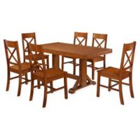 Forest Gate 7-Piece Wheatridge Farmhouse Wood Dining Set in Antique Brown