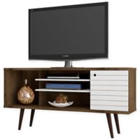 Manhattan Comfort Liberty 53.14-Inch TV Stand in Rustic Brown/White