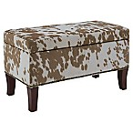 Linon Home Stephanie Udder Madness Palomino Bench/Ottoman in Brown/White