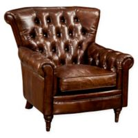 Moe's Home Collection New Castle Tufted Leather Arm Chair in Dark Brown