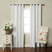 Brielle Fortune 108-Inch Grommet Top Room Darkening Window Curtain Panel in Silk White