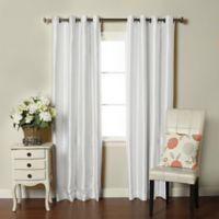 Brielle Fortune 108-Inch Grommet Top Room Darkening Window Curtain Panel in Silk White