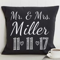 Our Wedding Date 18-Inch Square Throw Pillow