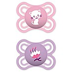 MAM Perfect Orthodontic Size 0-6M 2-Pack Girl Pacifiers in Pink/Purple