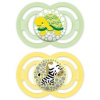 MAM Perfect Orthodontic Size 6+ Months 2-Pack Unisex Pacifiers in Green/Yellow