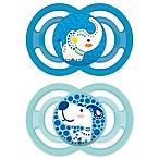 MAM Perfect Orthodontic Size 6+ Months 2-Pack Boy Pacifiers in Blue