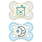 MAM Orthodontic Perfect Night Size 0-6M 2-Pack Boy Pacifiers in Blue