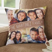 Family Photo 14-Inch Square Throw Pillow