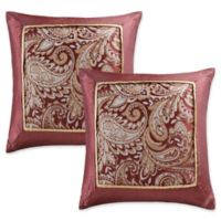 Madison Park Aubrey Square Throw Pillows in Burgundy (Set of 2)