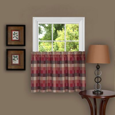 Achim Harvard 36 Inch Kitchen Window Curtain Tier Pair In Burgundy