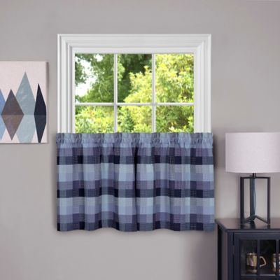 Achim Harvard 36 Inch Kitchen Window Curtain Tier Pair In Blue