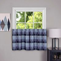 Achim Harvard 24-Inch Kitchen Window Curtain Tier Pair in Blue