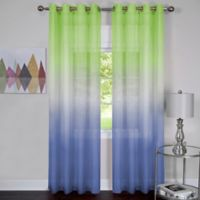 Achim Rainbow 63-Inch Grommet Top Window Curtain Panel in Green/Blue
