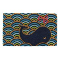 Design Imports Whale 18-Inch x 30-Inch Door Mat in Blue/Yellow