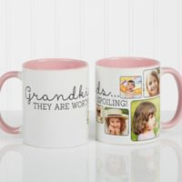 They're Worth Spoiling 11 oz. Photo Coffee Mug in Pink/White
