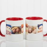 5 Photo Collage 11 oz. Coffee Mug in Red/White