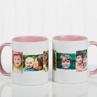 5 Photo Collage 11 oz. Coffee Mug in Pink/White