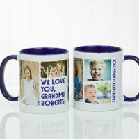 5 Photos Loving Message 11 oz. Coffee Mug in Blue/White