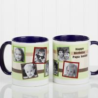 Any Message Photo Collage 11 oz. Mug in Blue/White