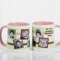 Any Message Photo Collage 11 oz. Mug in Pink/White