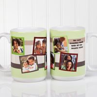 Any Message Photo Collage 15 oz. Mug in White