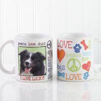 Peace, Love, Dogs 11 oz. Photo Coffee Mug in White