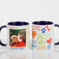 Peace, Love, Dogs 11 oz. Photo Coffee Mug in Blue