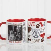 Peace, Love, Dogs 11 oz. Photo Coffee Mug in Red