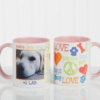 Peace, Love, Dogs 11 oz. Photo Coffee Mug in Pink