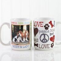 Peace, Love, Dogs 15 oz. Photo Coffee Mug in White