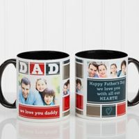 Dad Photo Collage 11 oz. Coffee Mug in Black/White