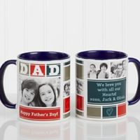 Dad Photo Collage 11 oz. Coffee Mug in Blue/White